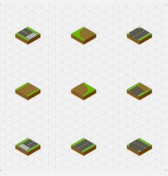 Isometric way set of unfinished upwards downward vector