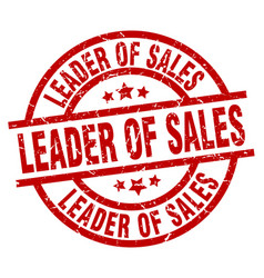 Leader of sales round red grunge stamp vector