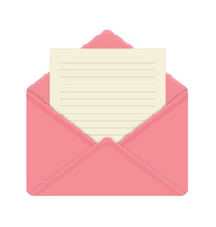 Letter in open pink envelope vector