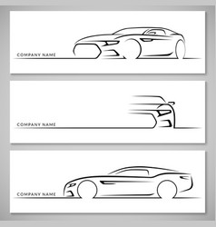 Modern sports car silhouettes background vector image vector image