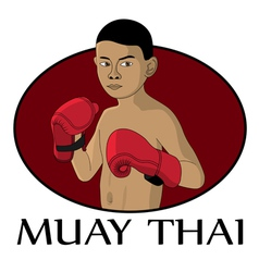 muay thai kid vector image