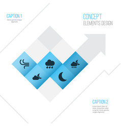 Nature icons set collection of moonlight breeze vector