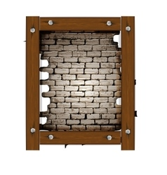 old brick wall frame with wooden boards vector image vector image