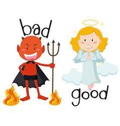 Opposite adjectives good and bad vector