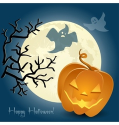 Pumpkin ghosts and a tree in front of the moon vector image vector image