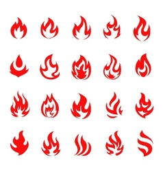 Red fire flame icons and pictograms set isolated vector image