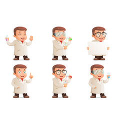 retro 3d scientist young cute test-tube icons set vector image vector image
