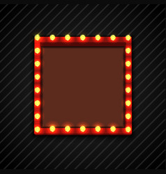 Retro billboard with lamps for space text black ba vector