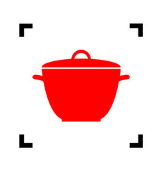 saucepan simple sign red icon inside vector image vector image