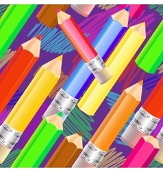 seamless pattern with colored pencils vector image