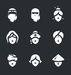 set of woman faces icons vector image