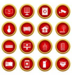 Smart home house icon red circle set vector