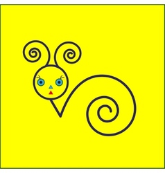 Snail icon on yellow background vector image vector image