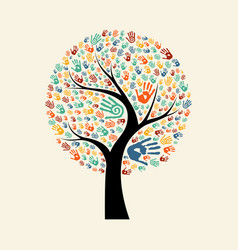 tree hand for diverse community help vector image