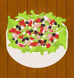 tuna salad on wood background vector image vector image