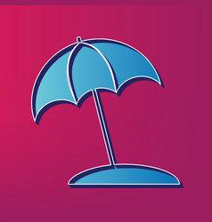 Umbrella and sun lounger sign blue 3d vector