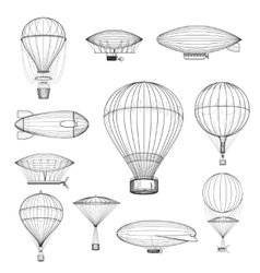 Vintage hot air balloons vector image vector image