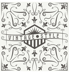 vintage label with swirls and flowers elements vector image