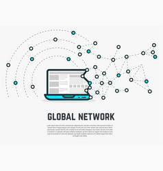 web network laptop vector image