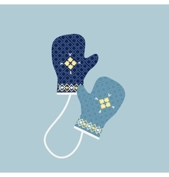 Winter Mittens in Soft Vintage Colors Gloves vector image