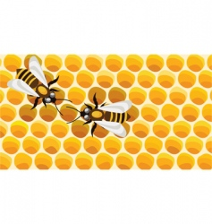 working bees on honey cells vector image vector image