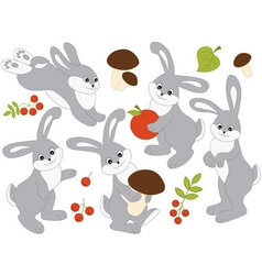 Rabbits Set vector image