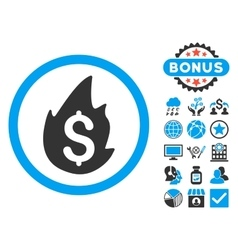 Business fire disaster flat icon with bonus vector