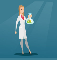 scientist holding flask with biohazard sign vector image