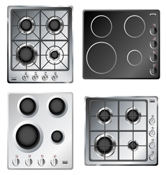 Kitchen stove hob set vector