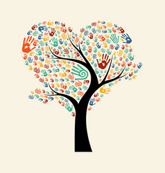 Tree hand for diverse team help vector