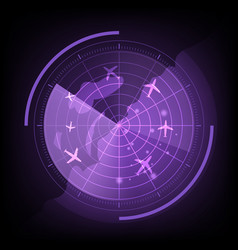Purple radar screen with airplane and map vector