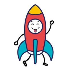 Spacecraft base flat kawaii character vector
