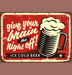 Vintage with beer glass vector