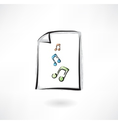 Music paper grunge icon vector