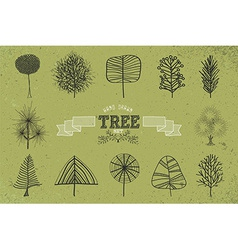 Custom hand drawn tree icons set vector