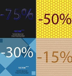 50 30 15 icon set of percent discount on abstract vector