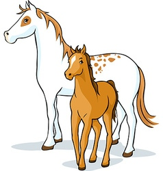 Horses - mare and foal vector