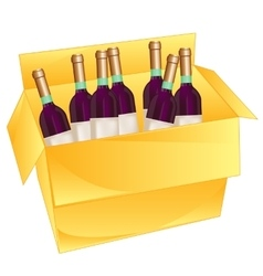 Box with wine vector