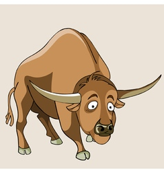 Cartoon wondering horned bull vector