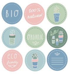 Set of organic and natural stickers vector