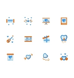 Collection of love greeting flat icons vector