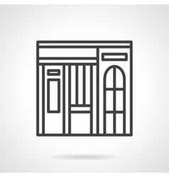 Dishes shop facade simple line icon vector