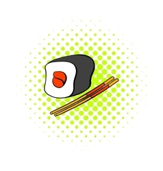 Sushi roll icon in comics style vector