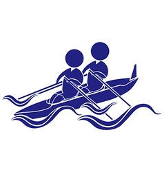 Sport icon design for kayaking in blue vector