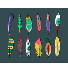 Attractive Feathers Icon Set Designs vector image vector image
