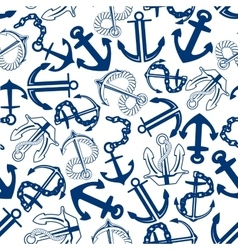 Blue anchors with chains ropes seamless pattern vector