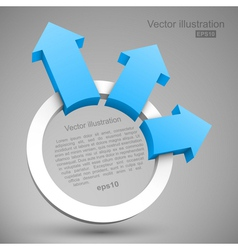 Blue arrows with circle 3D vector image vector image