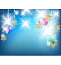 Blue christmas card with copy space vector