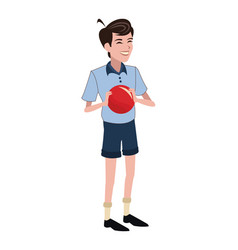 Boy red ball family member vector