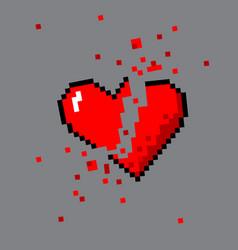 broken pixel art heart for game vector image vector image